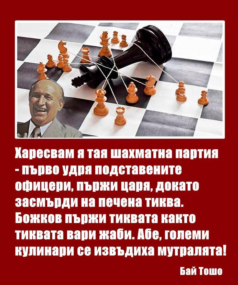 Бай Тошо: Харесвам я тая шахматна партия